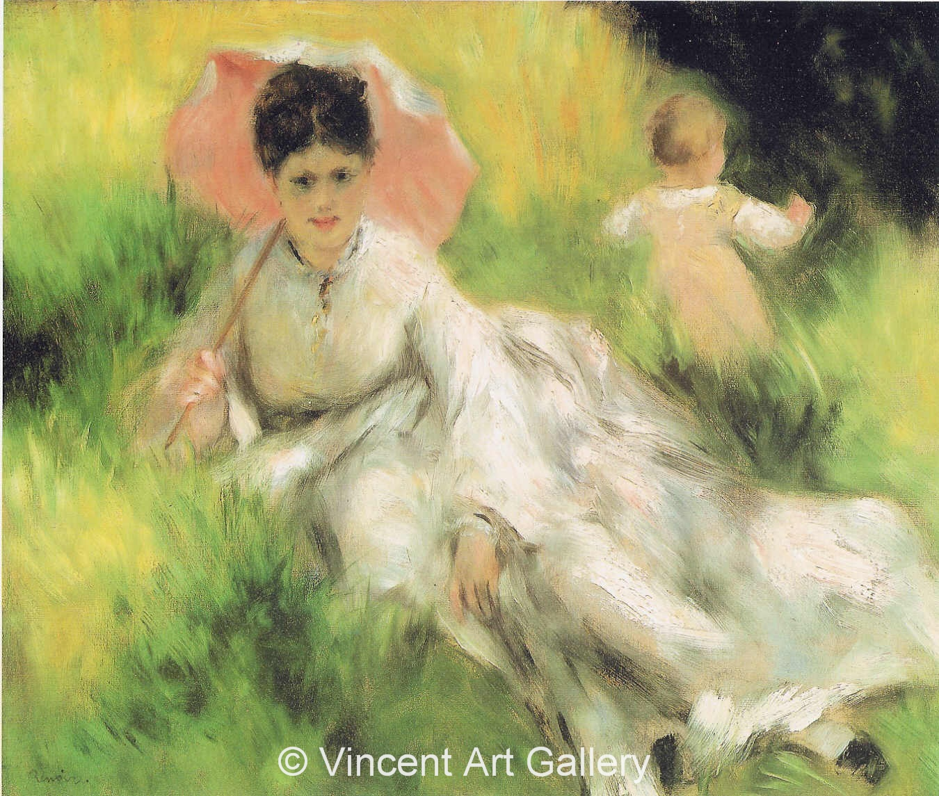 A3027, RENOIR, Woman with a Parasol and a Child in the Meadow, Camille Monet