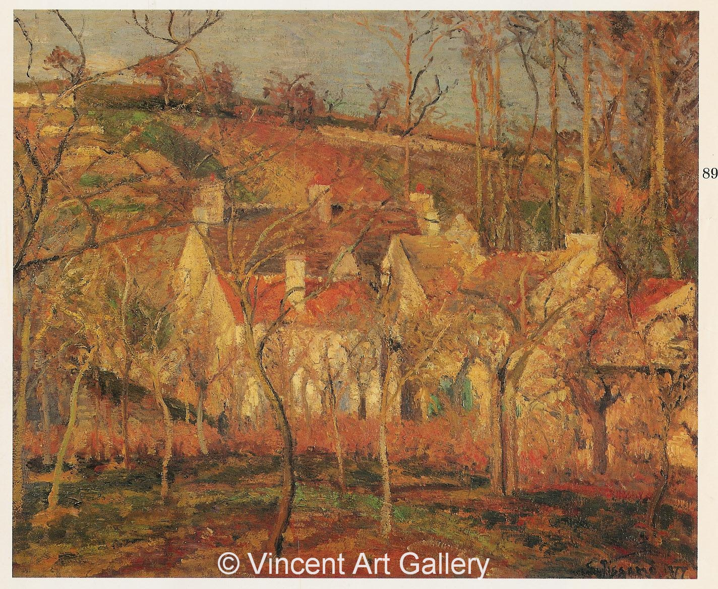 Red Roofs By Camille Pissarro A335, PISSARRO, Red Roofs