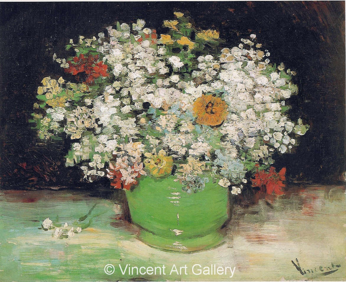 Vase with zinnias and other flowers by vincent van gogh oil vincent van gogh jh1142 vase with zinnias and other flowers reviewsmspy