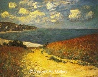 e7ecc146cea Path in the Wheat Fields at Pourville by Claude Monet - Oil Painting ...