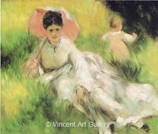 Woman with a Parasol and a Child in the Meadow, (Camille Monet) by Pierre-Auguste  Renoir