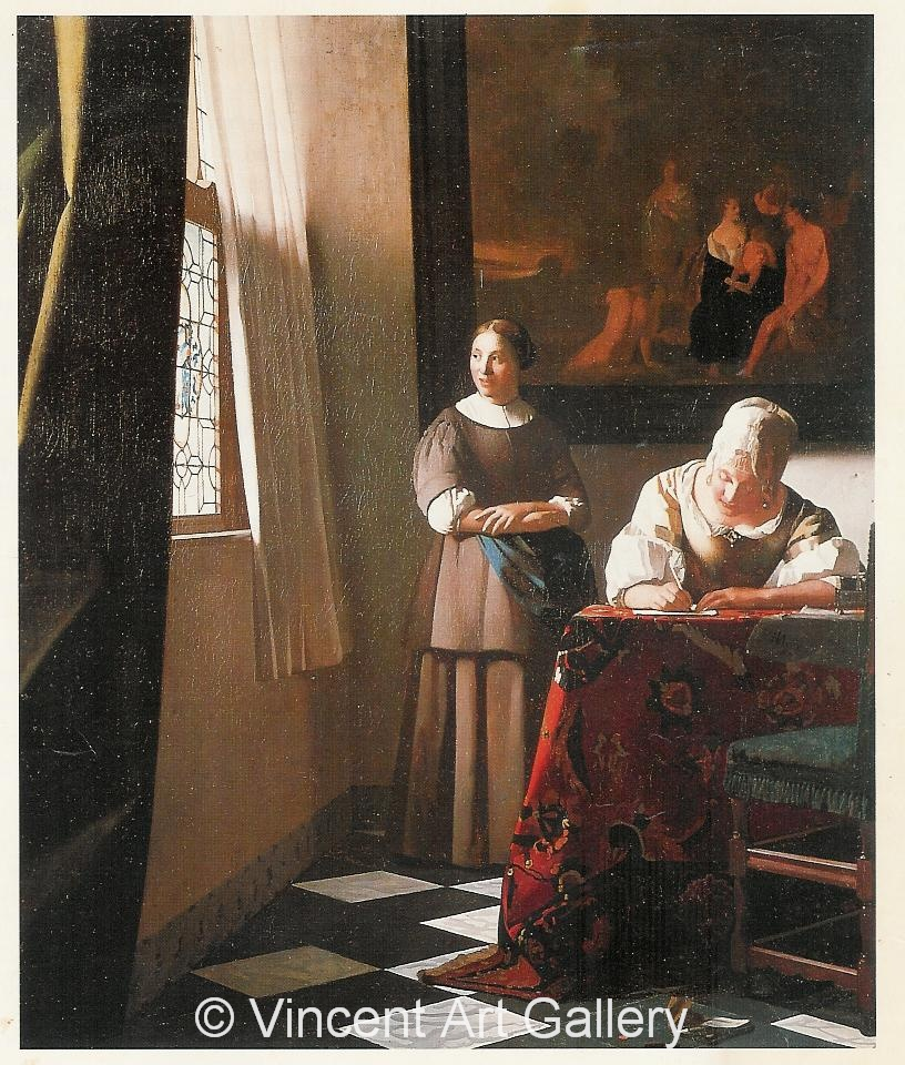 Lady writing a Letter with her Maid by Johannes Vermeer Oil
