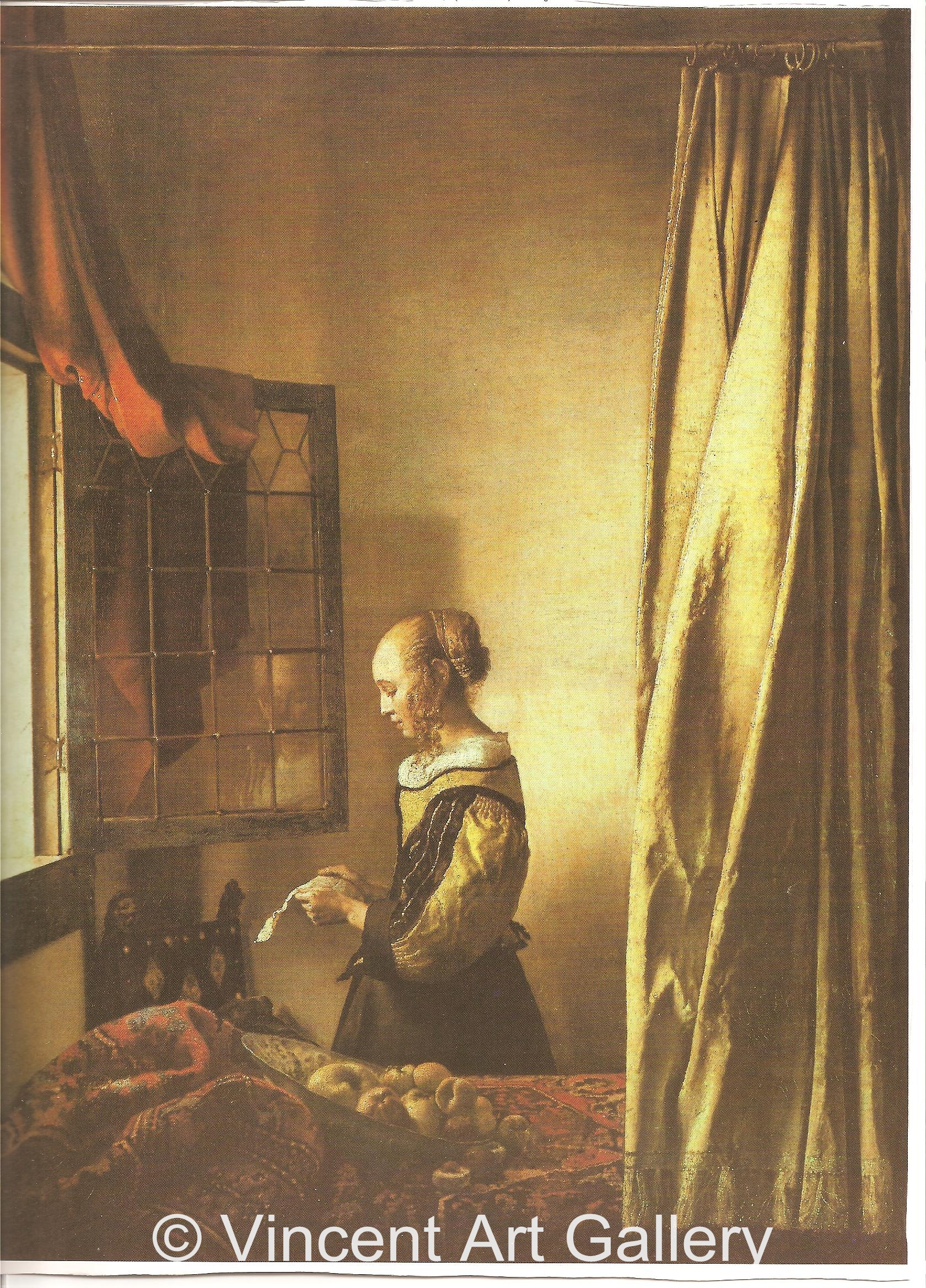 Girl Reading a Letter at an Open Window by Johannes Vermeer - Oil ...
