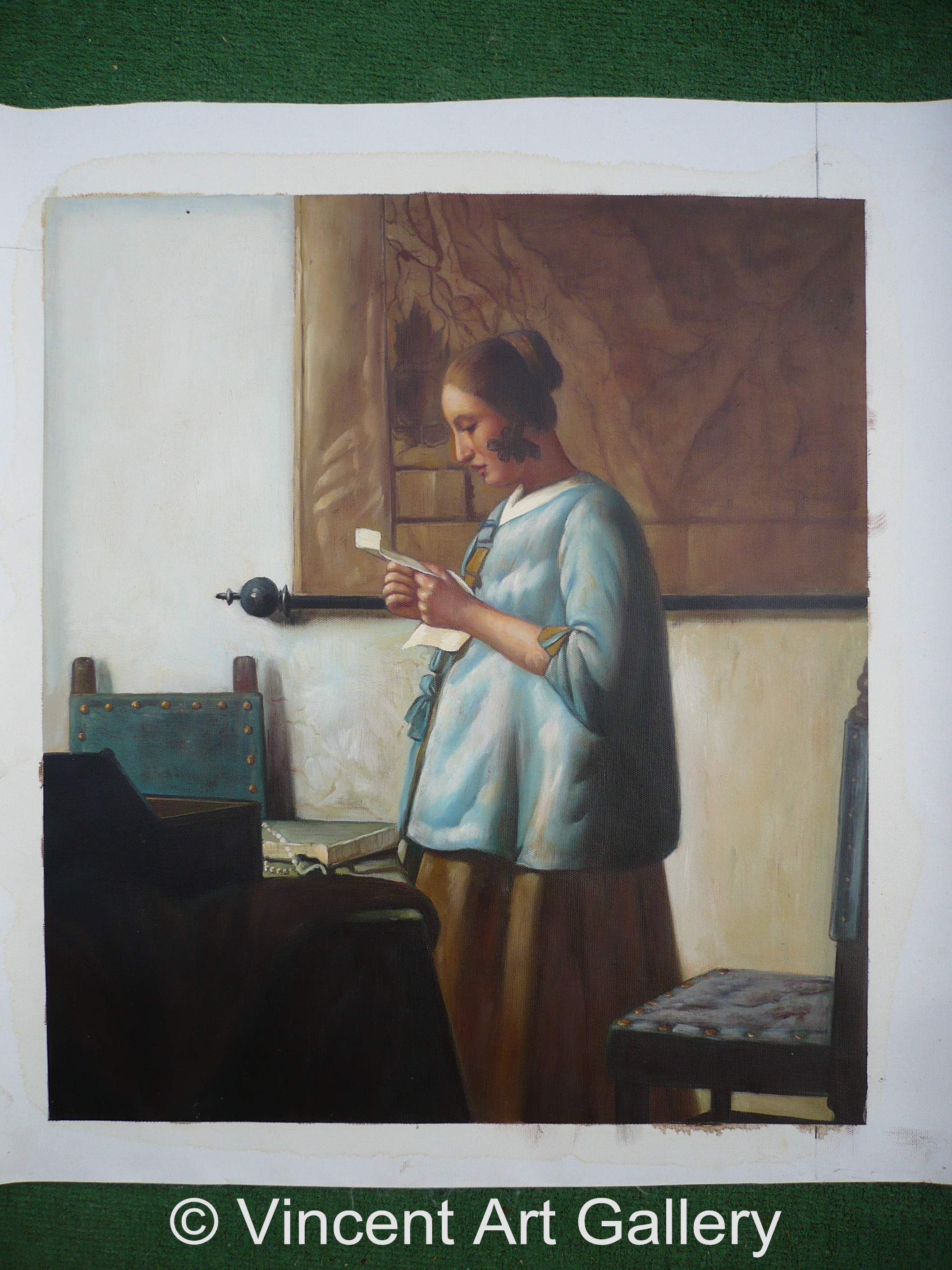 woman in blue reading a letter in blue reading a letter by johannes vermeer 25664